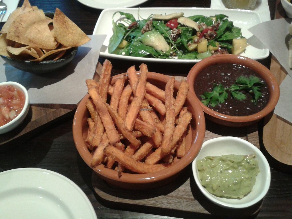 """Photo of Las Iguanas  by <a href=""""/members/profile/Vegan-Vinyl-Avengers"""">Vegan-Vinyl-Avengers</a> <br/>Fiesta ensalada (as a tapa), refried beans, totopos & sweet potato fries <br/> September 24, 2017  - <a href='/contact/abuse/image/78039/307801'>Report</a>"""