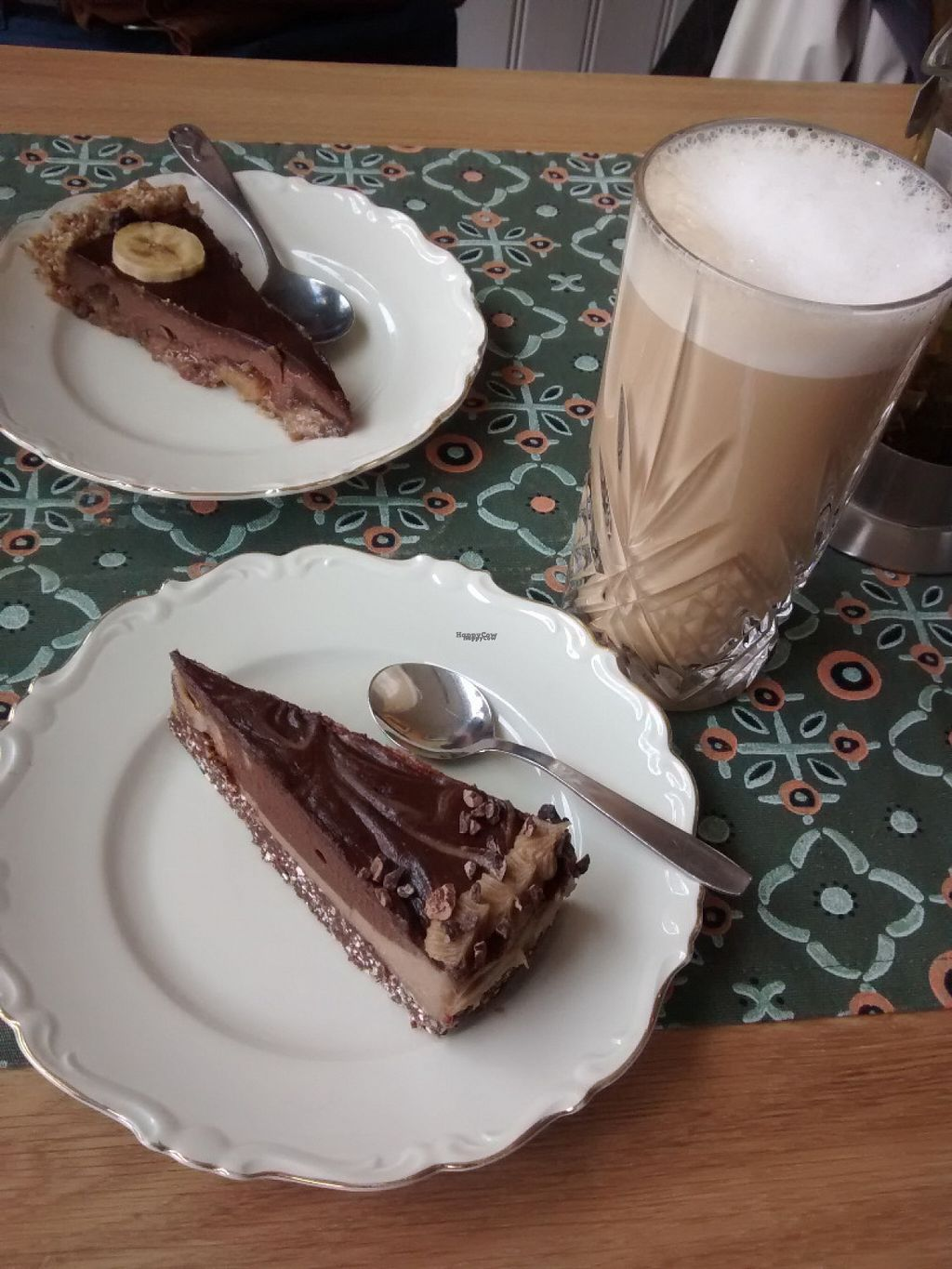 """Photo of Mandel & Malla  by <a href=""""/members/profile/Nina%20Organicwala.in"""">Nina Organicwala.in</a> <br/>Raw chocolate-mint and chocolate-banana cakes, and almond-latte, all very yummy! <br/> August 18, 2016  - <a href='/contact/abuse/image/78093/169802'>Report</a>"""