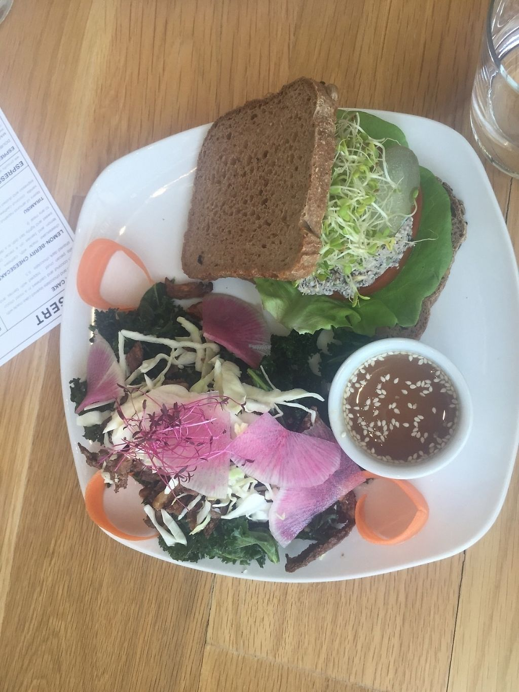 """Photo of Living Kitchen  by <a href=""""/members/profile/ginliv"""">ginliv</a> <br/>Mock tuna on multigrain with kale and oyster mushroom salad <br/> April 22, 2017  - <a href='/contact/abuse/image/78100/250819'>Report</a>"""