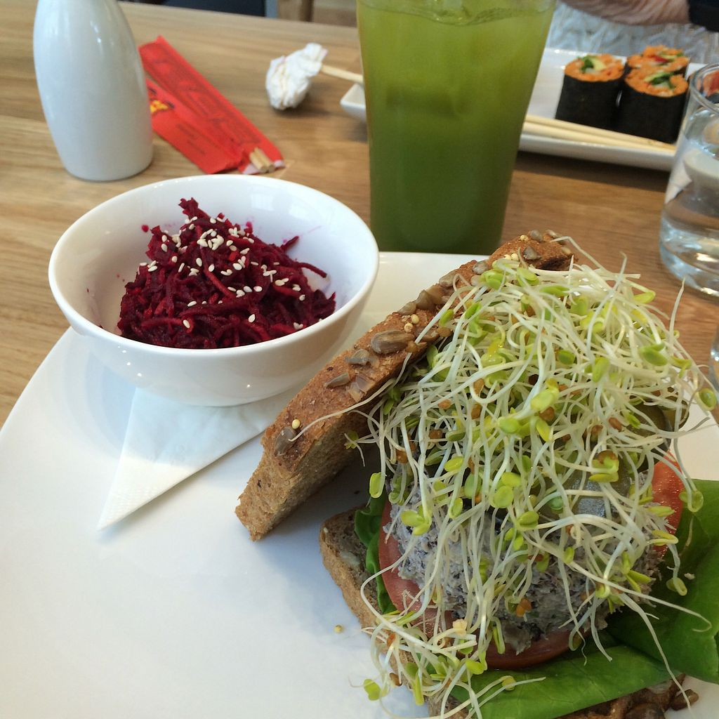 """Photo of Living Kitchen  by <a href=""""/members/profile/The%20Vegan%20Chemist"""">The Vegan Chemist</a> <br/>Mock Tuna Salad Sandwich with a side of beet salad and kale lemonade to drink <br/> July 10, 2017  - <a href='/contact/abuse/image/78100/278748'>Report</a>"""