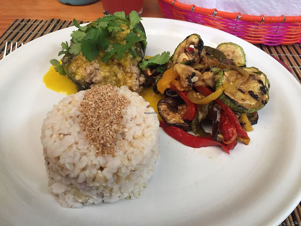"Photo of La Jicara  by <a href=""/members/profile/SinzianaK"">SinzianaK</a> <br/>Seitan stuffed pepper, grilled veg and rice  <br/> December 30, 2017  - <a href='/contact/abuse/image/78114/340701'>Report</a>"