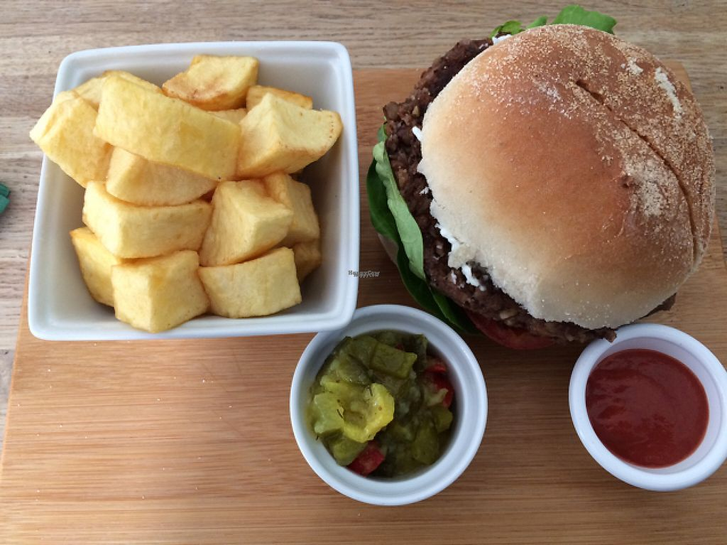 "Photo of The Cornish Vegan  by <a href=""/members/profile/SaraBarker"">SaraBarker</a> <br/>The Cornish Vegan burger and fried potatoes  <br/> April 12, 2017  - <a href='/contact/abuse/image/78123/247251'>Report</a>"