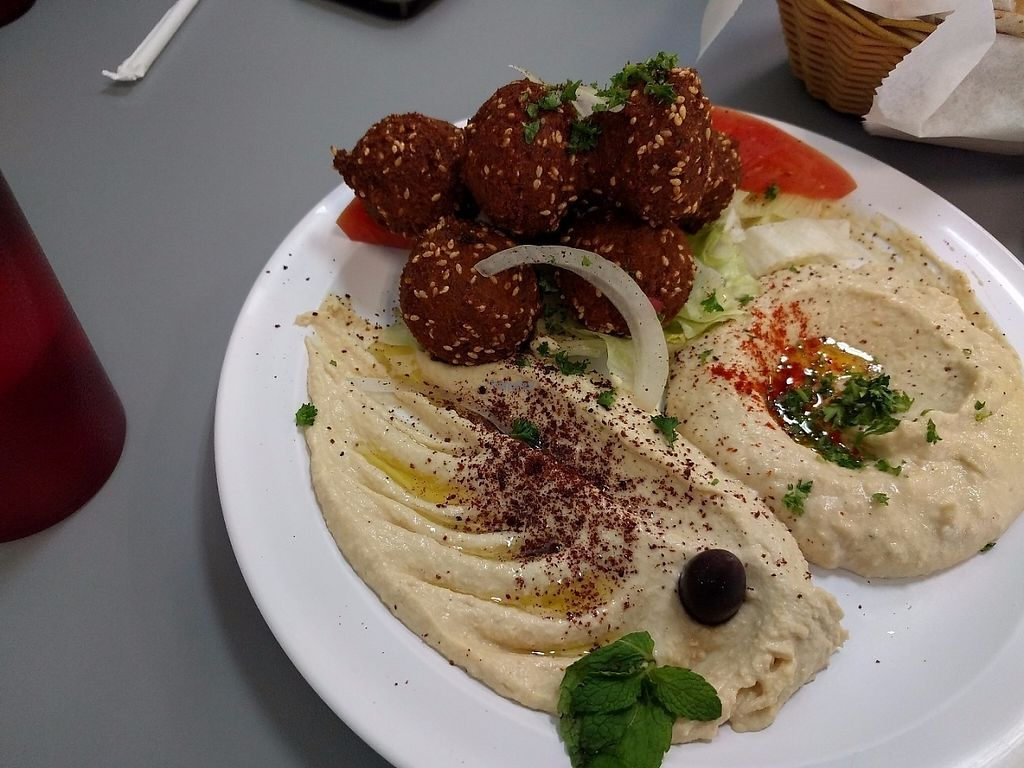 "Photo of Waffa and Mikes  by <a href=""/members/profile/pattib"">pattib</a> <br/>Falafel platter with Baba Ganouge and Hummous <br/> March 16, 2017  - <a href='/contact/abuse/image/78125/237088'>Report</a>"