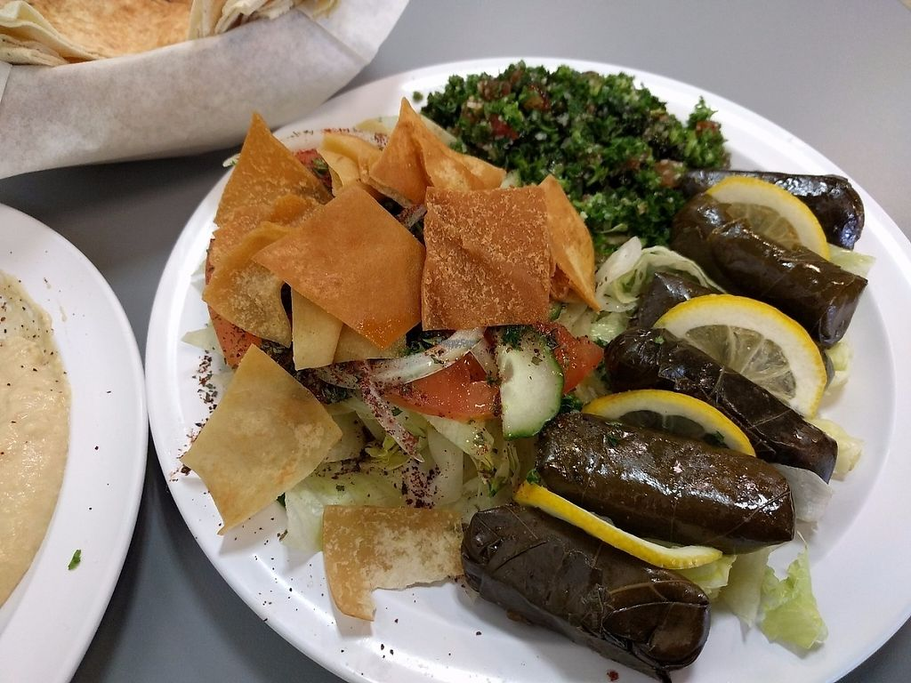 "Photo of Waffa and Mikes  by <a href=""/members/profile/pattib"">pattib</a> <br/>Grape Leaves with Fattouch and Tabbouleh <br/> March 16, 2017  - <a href='/contact/abuse/image/78125/237089'>Report</a>"