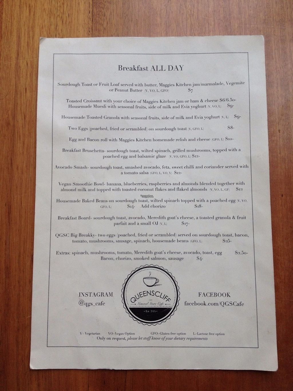 """Photo of Queenscliff General Store Cafe  by <a href=""""/members/profile/CaleyO"""">CaleyO</a> <br/>Summer menu 1/2 <br/> September 9, 2016  - <a href='/contact/abuse/image/78127/174570'>Report</a>"""