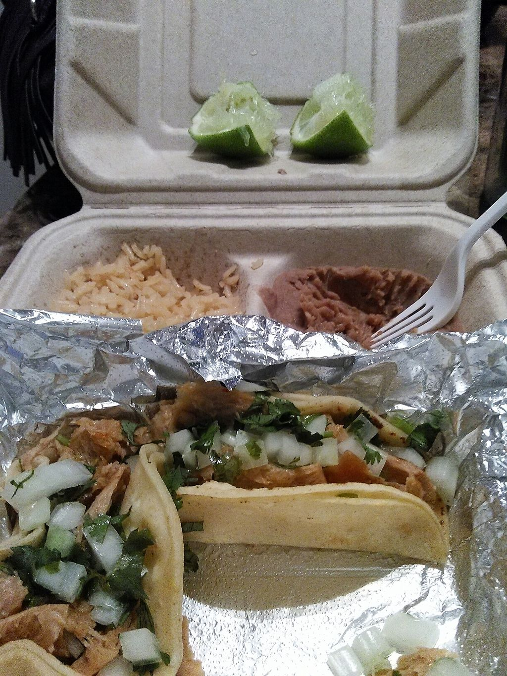 "Photo of El Palote Panaderia  by <a href=""/members/profile/lisapizza"">lisapizza</a> <br/>carnitas tacos with rice and beans <br/> July 22, 2017  - <a href='/contact/abuse/image/78138/283376'>Report</a>"