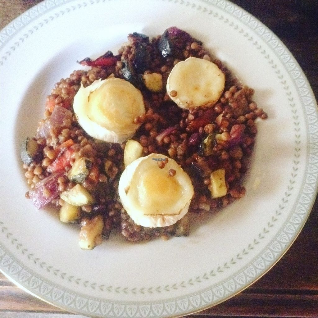 """Photo of The Hidden Veggie Kitchen  by <a href=""""/members/profile/veggiekitchenfr"""">veggiekitchenfr</a> <br/>Our tasty Lentils with grilled vegetables and melted goats cheese. Available as a starter or main  <br/> August 6, 2016  - <a href='/contact/abuse/image/78159/166338'>Report</a>"""