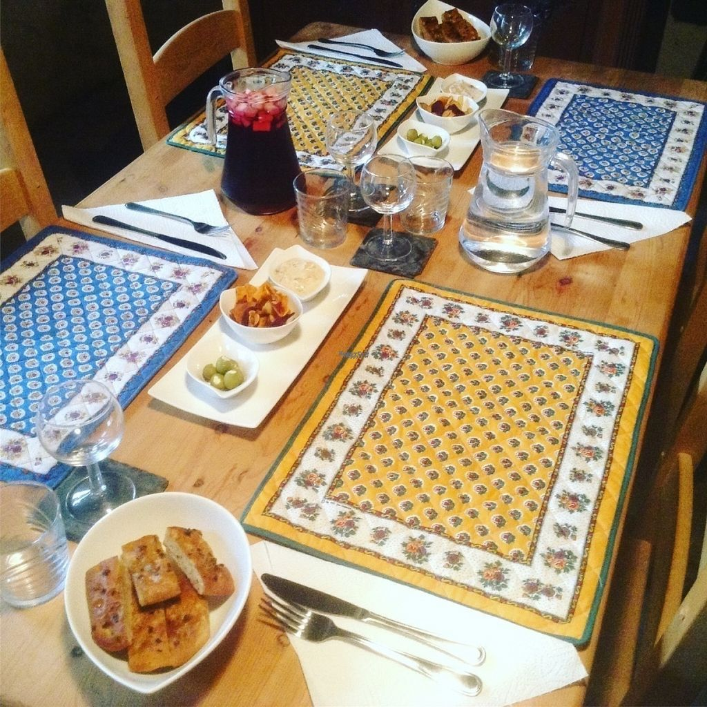 """Photo of The Hidden Veggie Kitchen  by <a href=""""/members/profile/veggiekitchenfr"""">veggiekitchenfr</a> <br/>Some of our apperos, including a glass of sangria, homemade breads, stuffed olives and dips <br/> August 6, 2016  - <a href='/contact/abuse/image/78159/166340'>Report</a>"""