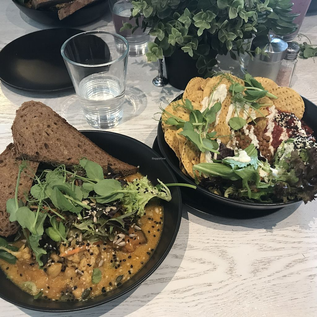 """Photo of Mr Black Juicery  by <a href=""""/members/profile/DitaCarlita"""">DitaCarlita</a> <br/>Chickpea curry and a nacho bowl <br/> March 18, 2018  - <a href='/contact/abuse/image/78188/372198'>Report</a>"""