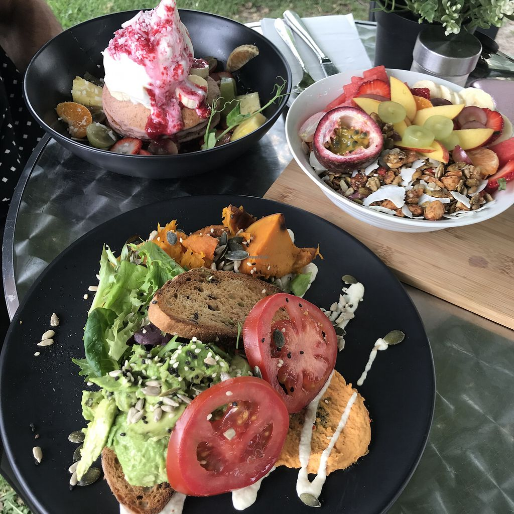 """Photo of Mr Black Juicery  by <a href=""""/members/profile/DitaCarlita"""">DitaCarlita</a> <br/>Pancakes and smoothie bowl behind and an avocado on toast in the front <br/> March 18, 2018  - <a href='/contact/abuse/image/78188/372199'>Report</a>"""