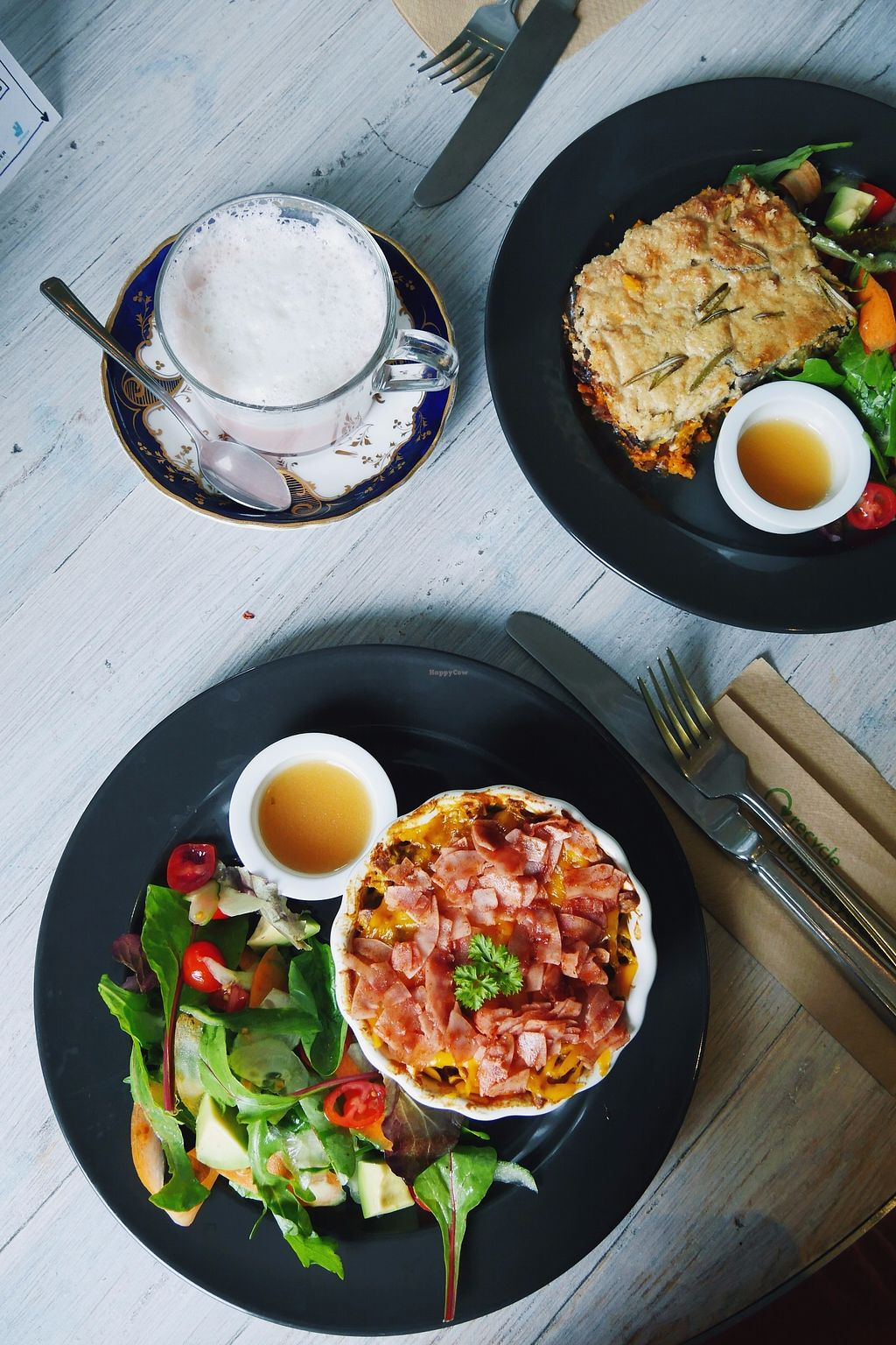 """Photo of Paradise Unbakery  by <a href=""""/members/profile/YukiLim"""">YukiLim</a> <br/>Vegan mac and cheese and moussaka  <br/> September 21, 2017  - <a href='/contact/abuse/image/78199/306664'>Report</a>"""
