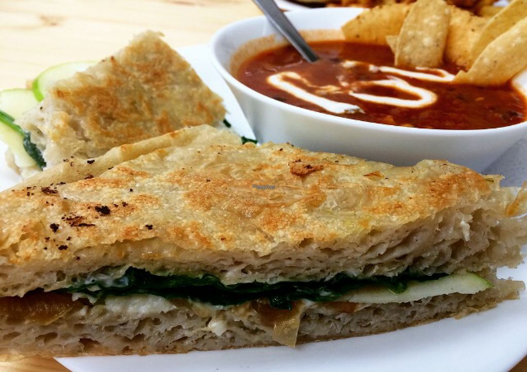 """Photo of Grow Your Roots Cafe  by <a href=""""/members/profile/EmmaClaire"""">EmmaClaire</a> <br/>Mel's Fav Panini with the Taco Soup of the Day <br/> August 18, 2016  - <a href='/contact/abuse/image/78200/169727'>Report</a>"""