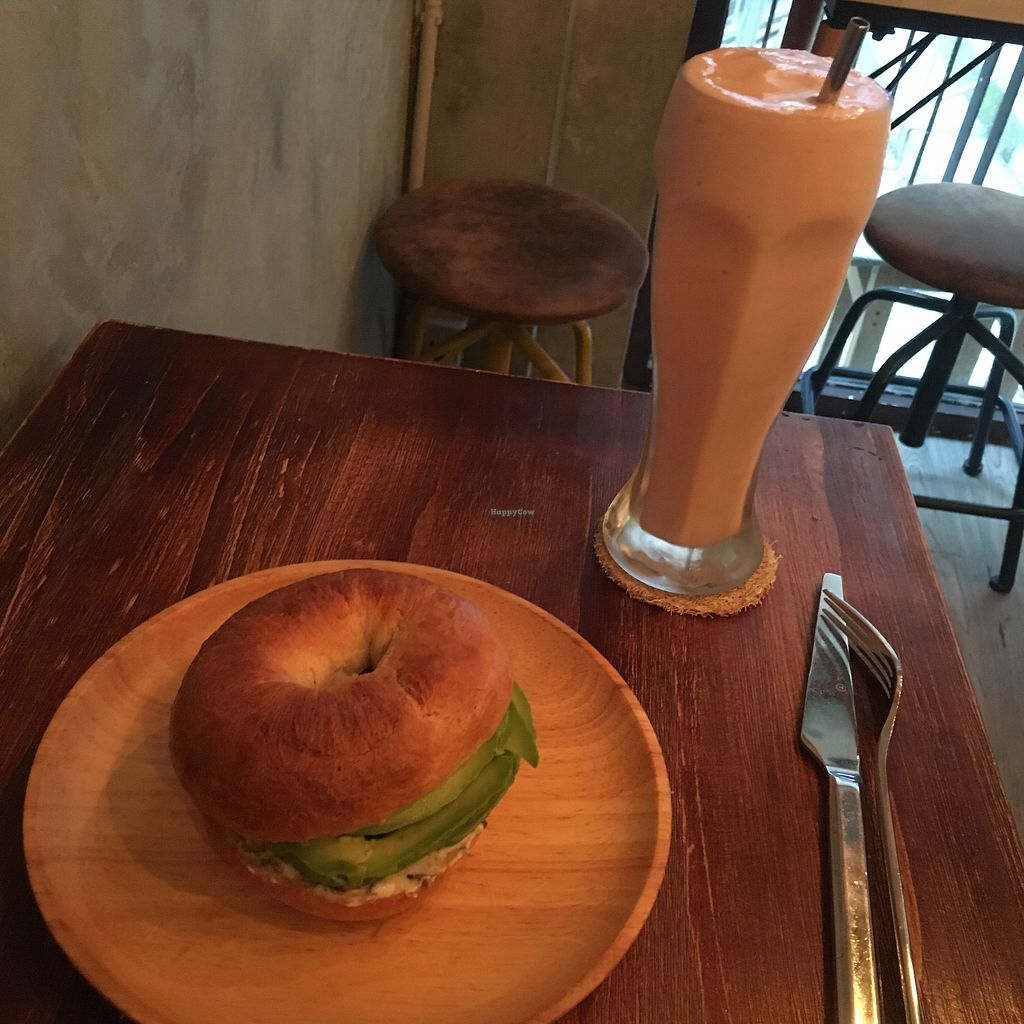 """Photo of Ohms Cafe & Bar  by <a href=""""/members/profile/SuBravo"""">SuBravo</a> <br/>Fig smoothie and avocado Bagel <br/> November 7, 2017  - <a href='/contact/abuse/image/78252/322814'>Report</a>"""