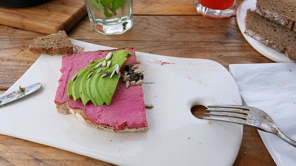 """Photo of Le Pain Quotidien - Jumeirah Beach  by <a href=""""/members/profile/vaz"""">vaz</a> <br/>beetroot hummus sandwich <br/> April 2, 2018  - <a href='/contact/abuse/image/78283/379910'>Report</a>"""
