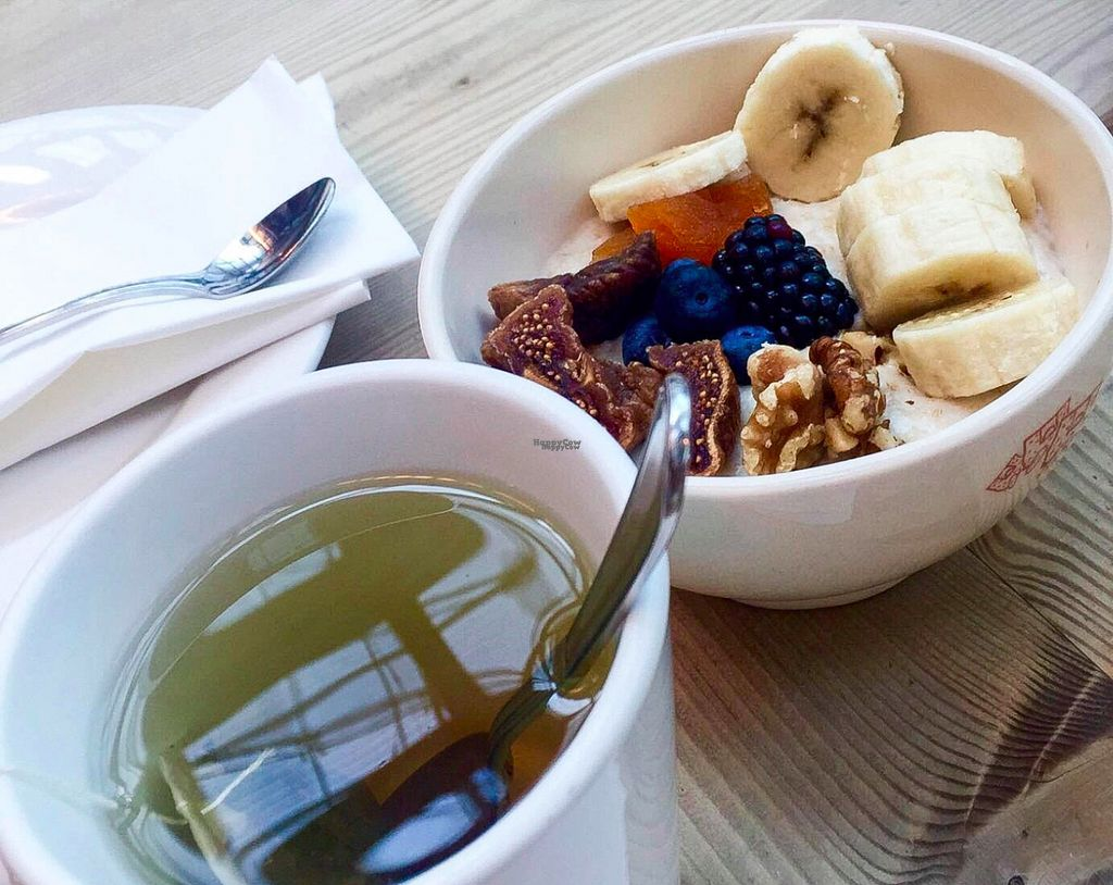 """Photo of Le Pain Quotidien - Mall of the Emirates  by <a href=""""/members/profile/myvegandubai"""">myvegandubai</a> <br/>Vegan Breakfast: Mint Tea and Oatmeal <br/> August 29, 2016  - <a href='/contact/abuse/image/78295/172123'>Report</a>"""