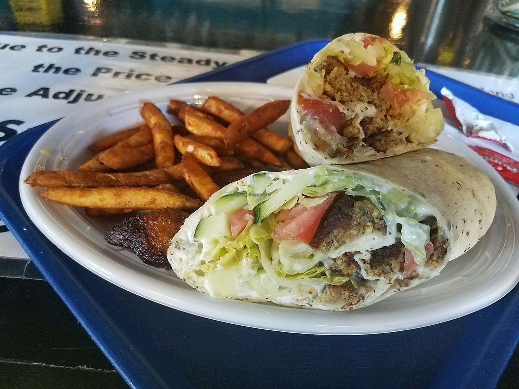 """Photo of The Jerk Shack  by <a href=""""/members/profile/BeckyGourley"""">BeckyGourley</a> <br/>Falafel wrap, you can get it as a burger too <br/> March 15, 2018  - <a href='/contact/abuse/image/78328/371084'>Report</a>"""