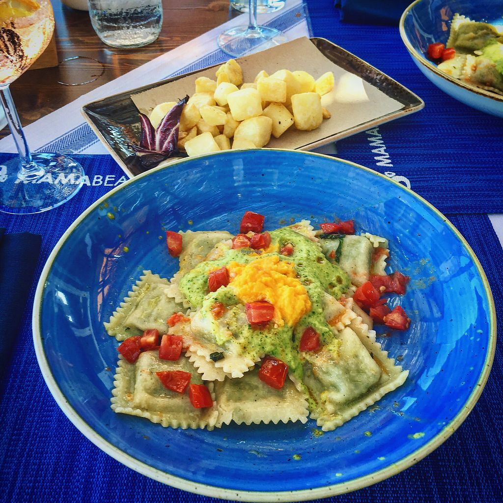 """Photo of Mamabeach  by <a href=""""/members/profile/CoupleOfVegans"""">CoupleOfVegans</a> <br/>Vegan Ravioli & Roasted Potatoes <br/> September 22, 2017  - <a href='/contact/abuse/image/78339/307073'>Report</a>"""
