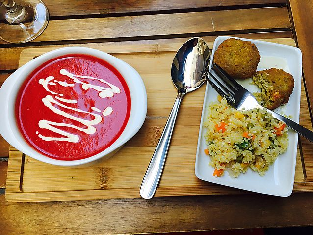 "Photo of Organic's  by <a href=""/members/profile/CatMcAlister"">CatMcAlister</a> <br/>tapas of salmorejo and falafel  <br/> September 20, 2017  - <a href='/contact/abuse/image/78341/306366'>Report</a>"
