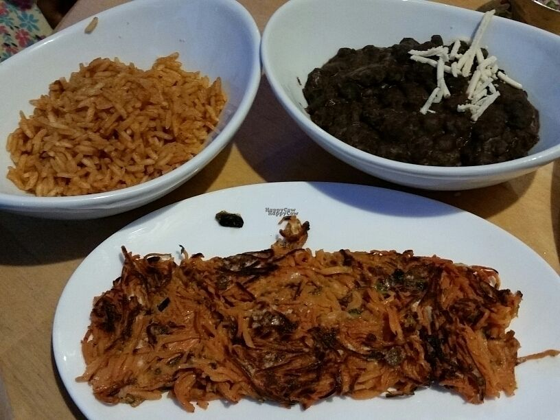 """Photo of Tocaya Organica  by <a href=""""/members/profile/eric"""">eric</a> <br/>3 sides, Spanish rice, beans, sweet potato hash <br/> October 19, 2016  - <a href='/contact/abuse/image/78348/182876'>Report</a>"""