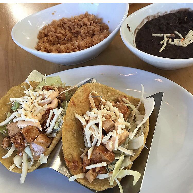"""Photo of Tocaya Organica  by <a href=""""/members/profile/MeganCasas"""">MeganCasas</a> <br/>Baja chipotle tacos with adobo tofu, black beans and rice <br/> November 29, 2017  - <a href='/contact/abuse/image/78348/330433'>Report</a>"""