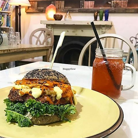 "Photo of Health Nuts Shop & Cafe  by <a href=""/members/profile/HNUT"">HNUT</a> <br/>Vegan burger <br/> June 13, 2017  - <a href='/contact/abuse/image/78492/268554'>Report</a>"