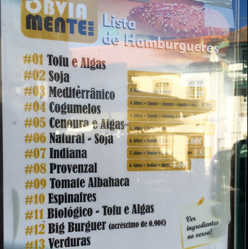 """Photo of Obviamente Bar  by <a href=""""/members/profile/Vera%20Peres"""">Vera Peres</a> <br/>veggie burger menu <br/> August 14, 2016  - <a href='/contact/abuse/image/78497/168480'>Report</a>"""