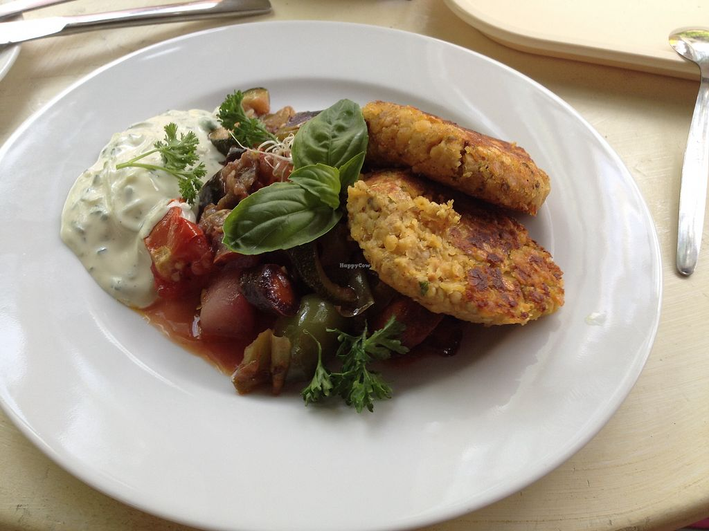 "Photo of Biokeller Bistro  by <a href=""/members/profile/melindasofia"">melindasofia</a> <br/>buckwheat patties with vegetable and tzatziki  <br/> August 19, 2017  - <a href='/contact/abuse/image/78503/294466'>Report</a>"