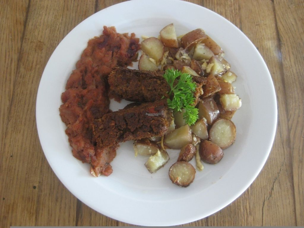 """Photo of Incruenti  by <a href=""""/members/profile/jennyc32"""">jennyc32</a> <br/>Lunch main course:  lentil loaf, chutney and potatoes <br/> August 21, 2016  - <a href='/contact/abuse/image/78551/170429'>Report</a>"""