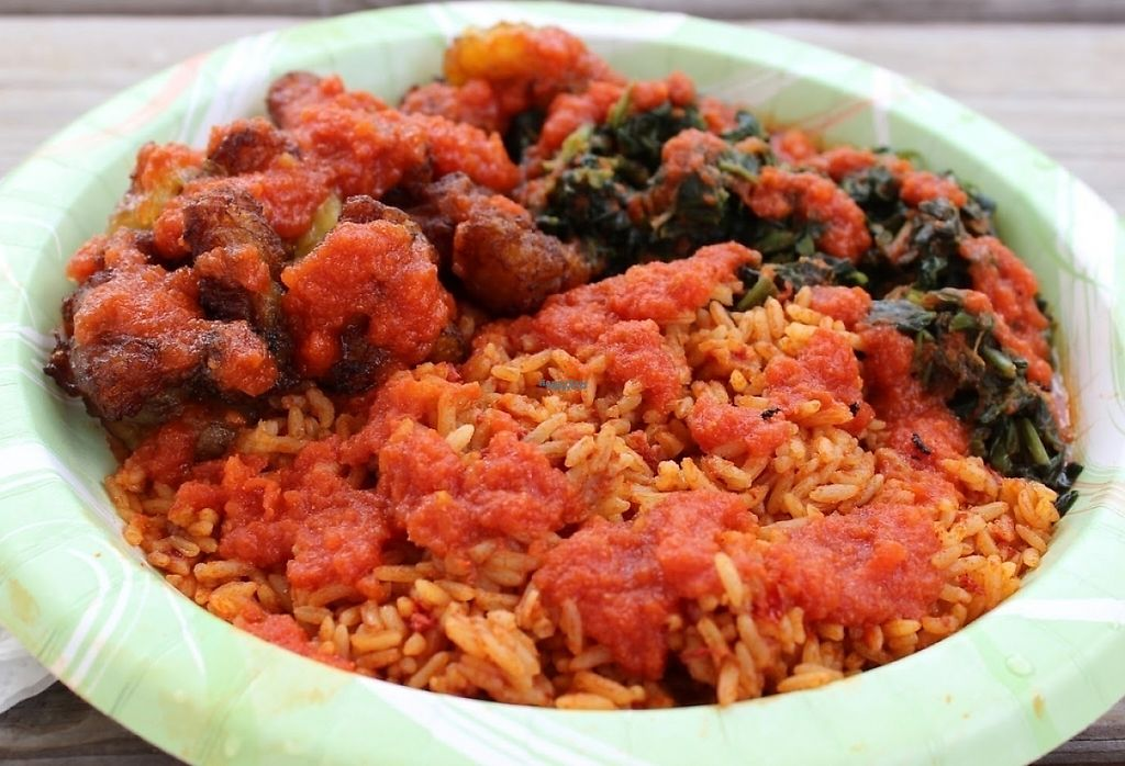"""Photo of Wasota African Cuisine  by <a href=""""/members/profile/veggie_htx"""">veggie_htx</a> <br/>V14: Vegan rice, plantains, spinach and mild tomato stew <br/> August 15, 2016  - <a href='/contact/abuse/image/78591/226066'>Report</a>"""