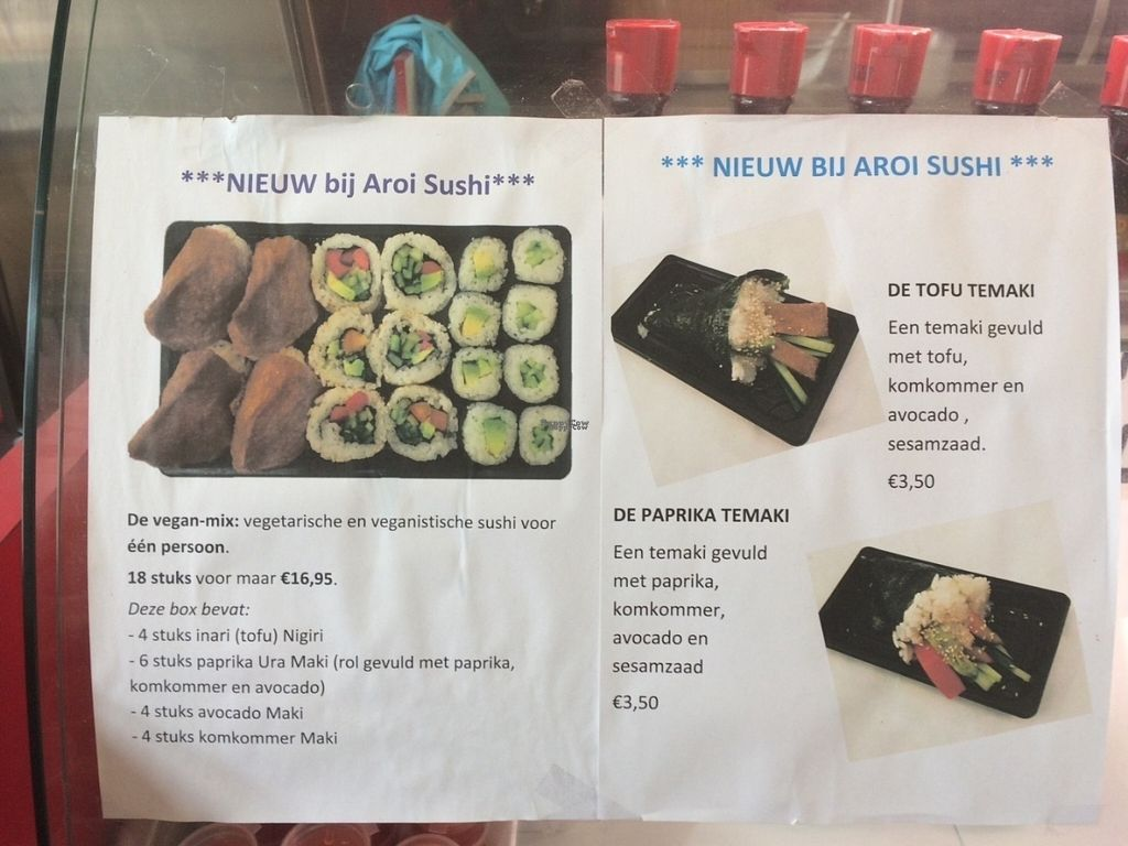 """Photo of Aroi Sushi  by <a href=""""/members/profile/vegan.merel"""">vegan.merel</a> <br/>A lot of vegan options, like the vegan mix, tofu temaki or bell pepper temaki <br/> September 3, 2016  - <a href='/contact/abuse/image/78603/173213'>Report</a>"""