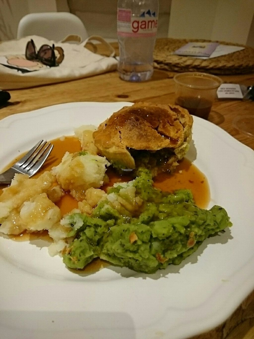 """Photo of Pie & Vinyl  by <a href=""""/members/profile/BPvegan"""">BPvegan</a> <br/>The Pie-Mosa as takeaway. Parsnip, potatoes, peas and onions <br/> November 28, 2016  - <a href='/contact/abuse/image/78606/195388'>Report</a>"""