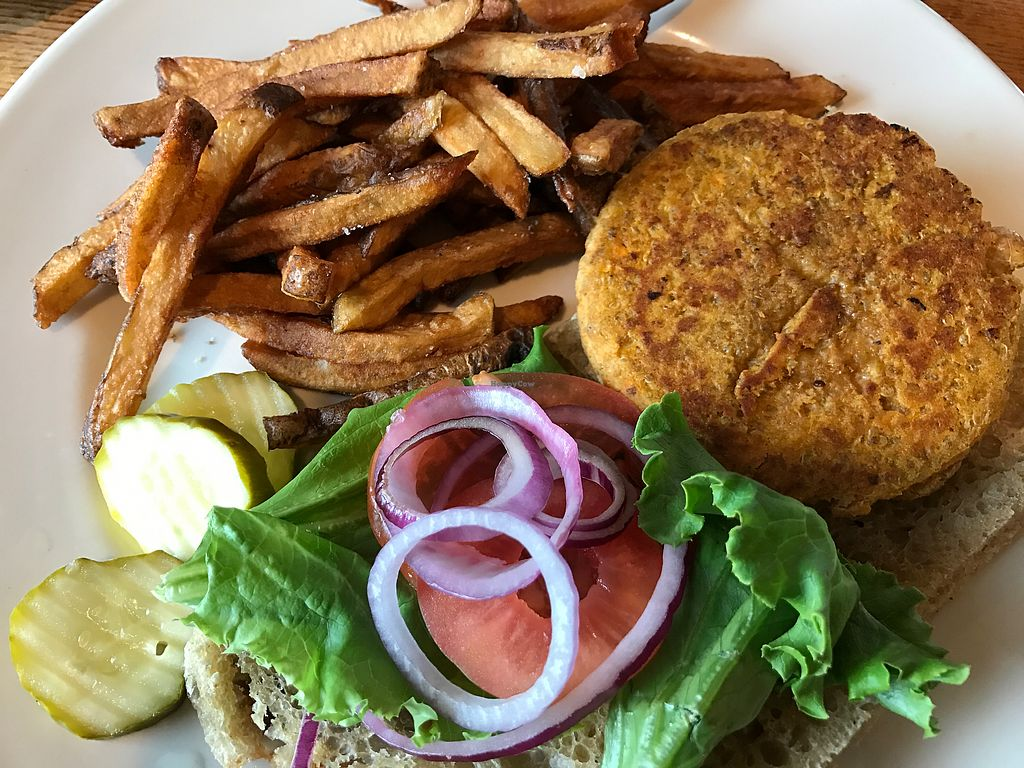 """Photo of Maxi's  by <a href=""""/members/profile/justJosieRose"""">justJosieRose</a> <br/>Sweet potato, quinoa, chick pea burger w/ hand-cut fries <br/> July 20, 2017  - <a href='/contact/abuse/image/78608/282531'>Report</a>"""