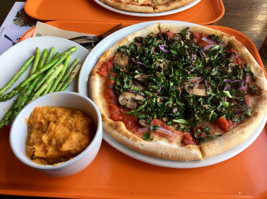"""Photo of Modern Market  by <a href=""""/members/profile/vegansb17"""">vegansb17</a> <br/>Crimini Kale Pizza (vegan), Lemon Garlic Asparagus, and Rosemary Sweet Potato Mash <br/> May 8, 2017  - <a href='/contact/abuse/image/78623/257057'>Report</a>"""
