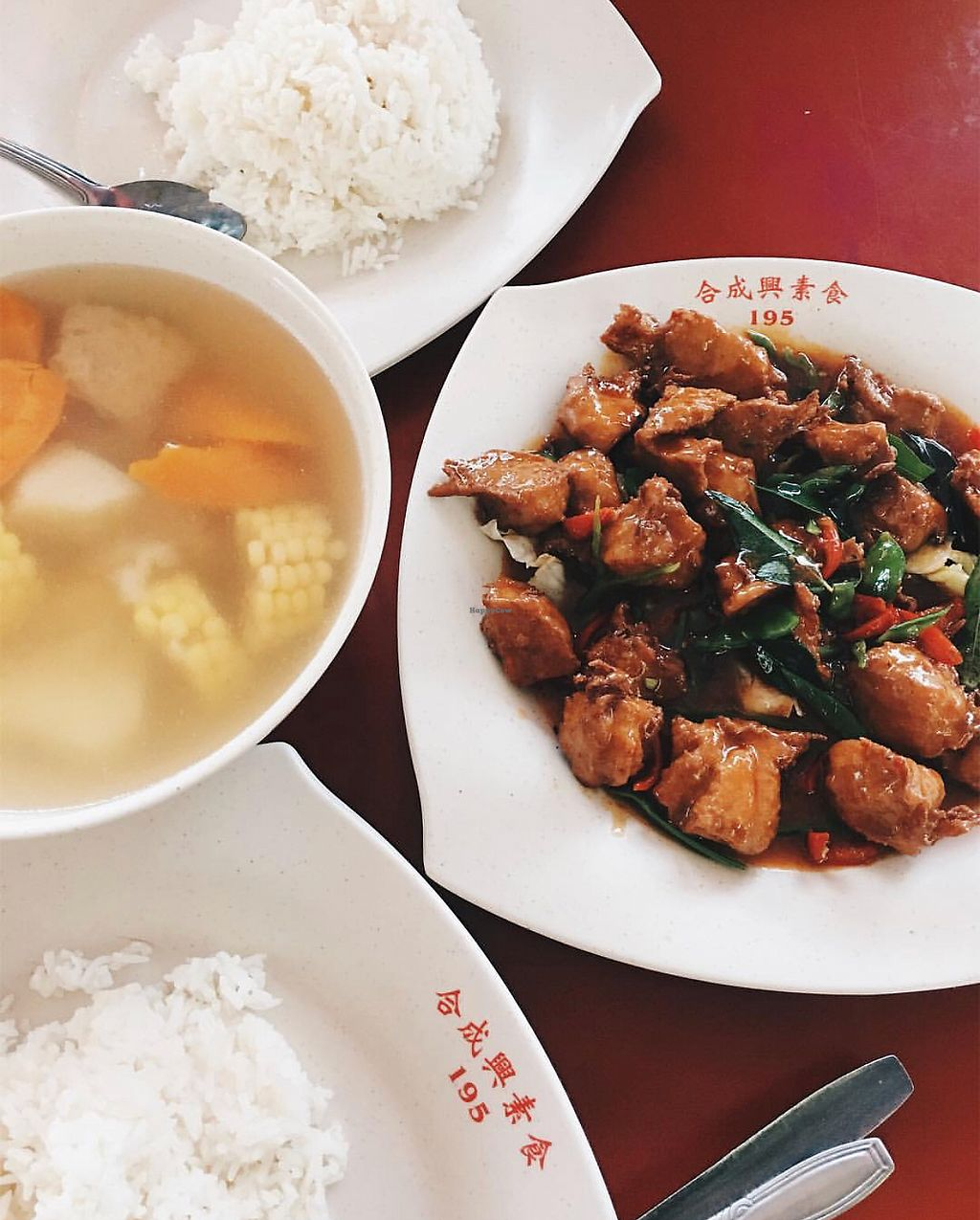 "Photo of Hup Seng Heng Vegetarian  by <a href=""/members/profile/CherylQuincy"">CherylQuincy</a> <br/> Tom Yun Diced Chicken and potato soup <br/> January 30, 2018  - <a href='/contact/abuse/image/78745/352769'>Report</a>"