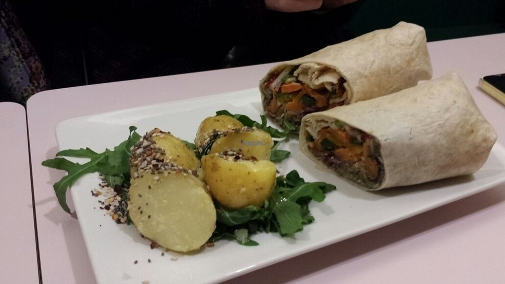 """Photo of Hula Juice Cafe  by <a href=""""/members/profile/MandyRainbowHadley"""">MandyRainbowHadley</a> <br/>vegan wrap <br/> October 27, 2016  - <a href='/contact/abuse/image/78825/184791'>Report</a>"""