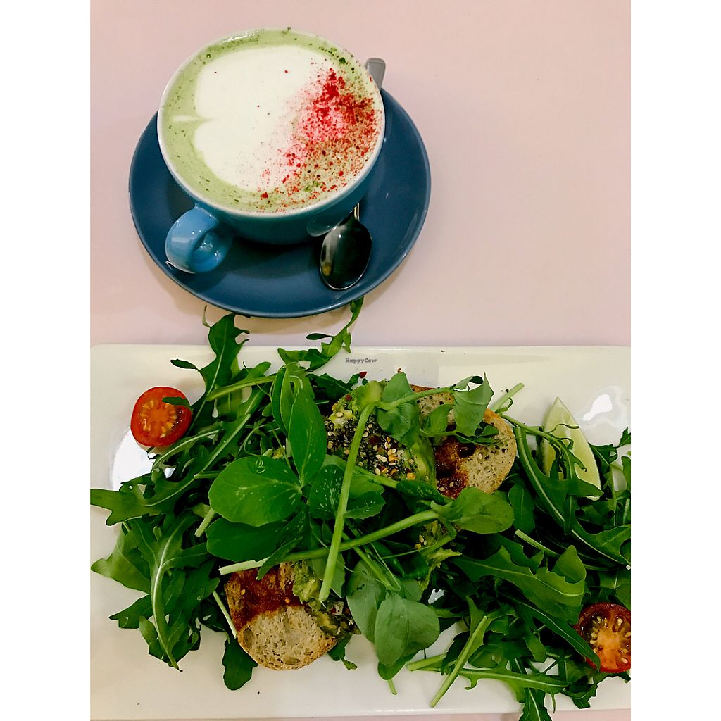 """Photo of Hula Juice Cafe  by <a href=""""/members/profile/hayley.ls"""">hayley.ls</a> <br/>Avo toast with Coconut Milk Matcha Latte <br/> May 28, 2017  - <a href='/contact/abuse/image/78825/263277'>Report</a>"""