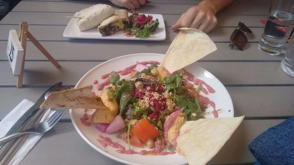 """Photo of Urban Grind  by <a href=""""/members/profile/Sharasaur"""">Sharasaur</a> <br/>Vegan Salad and Hot South American Wrap(bigger in real life) in the background.   <br/> August 17, 2016  - <a href='/contact/abuse/image/78828/169541'>Report</a>"""