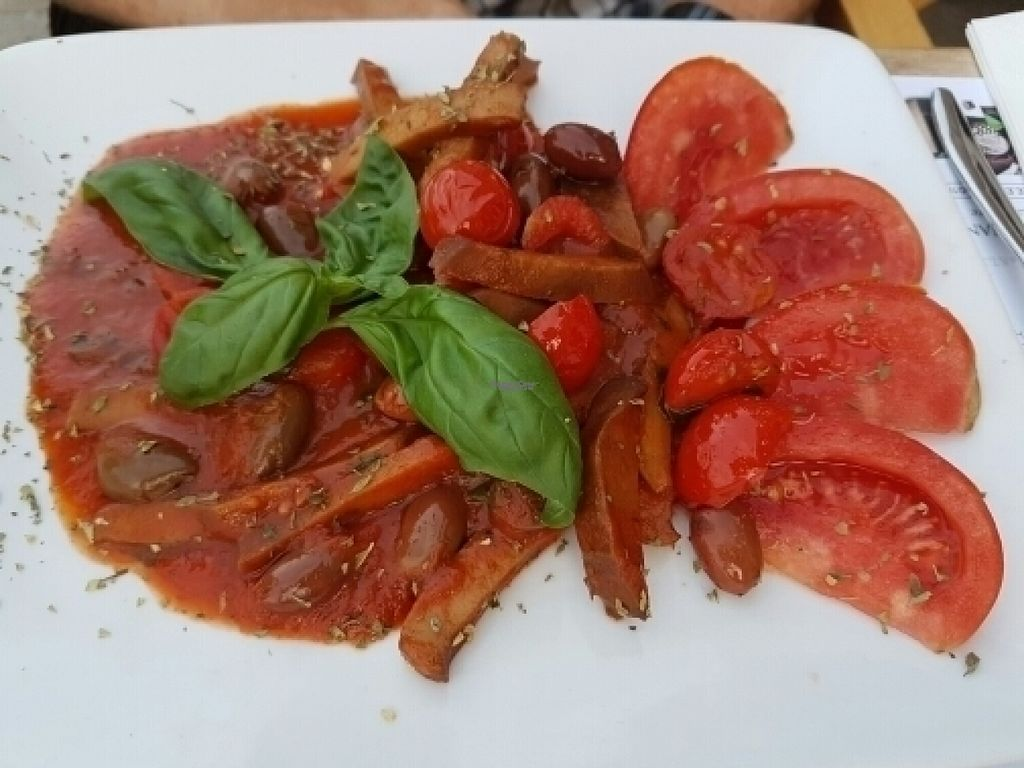 """Photo of Caffe Vergnano 1882 - Rialto  by <a href=""""/members/profile/Good%20for%20Vegans"""">Good for Vegans</a> <br/>Seitan with tomato <br/> August 18, 2016  - <a href='/contact/abuse/image/78836/169818'>Report</a>"""