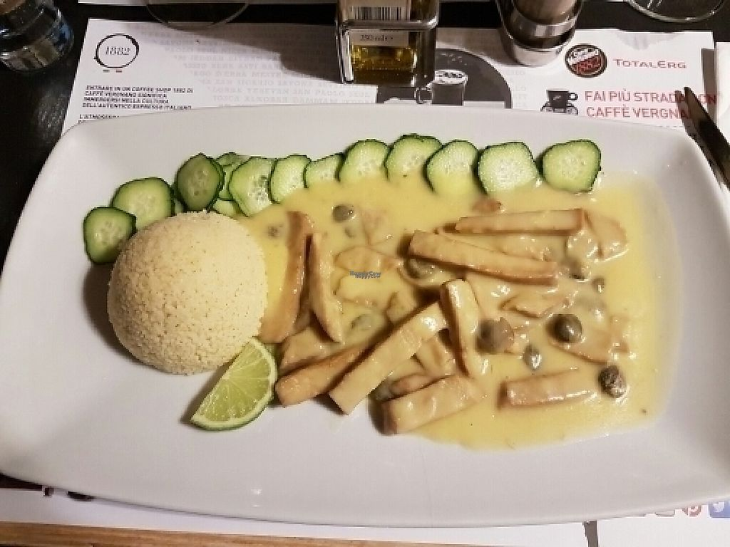 """Photo of Caffe Vergnano 1882 - Rialto  by <a href=""""/members/profile/Good%20for%20Vegans"""">Good for Vegans</a> <br/>Seitan with lemon and capers <br/> August 18, 2016  - <a href='/contact/abuse/image/78836/215420'>Report</a>"""