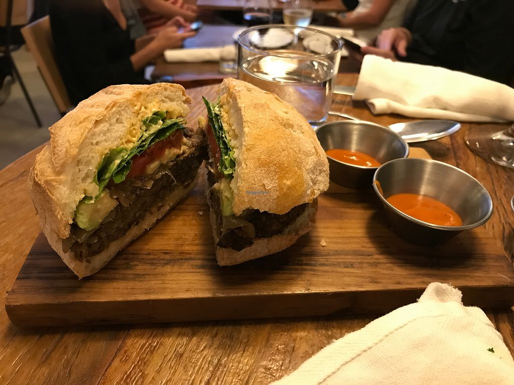 """Photo of Teva  by <a href=""""/members/profile/JuTheCub"""">JuTheCub</a> <br/>The burger! (shiitake and rice patty) <br/> November 25, 2017  - <a href='/contact/abuse/image/78854/329042'>Report</a>"""