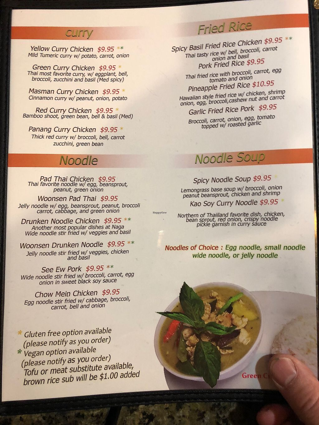 "Photo of Naga Thai Bistro  by <a href=""/members/profile/ehjay"">ehjay</a> <br/>Naga Thai Bistro menu.  Look for the green stars for dishes that can be made vegan <br/> January 6, 2018  - <a href='/contact/abuse/image/78898/343508'>Report</a>"