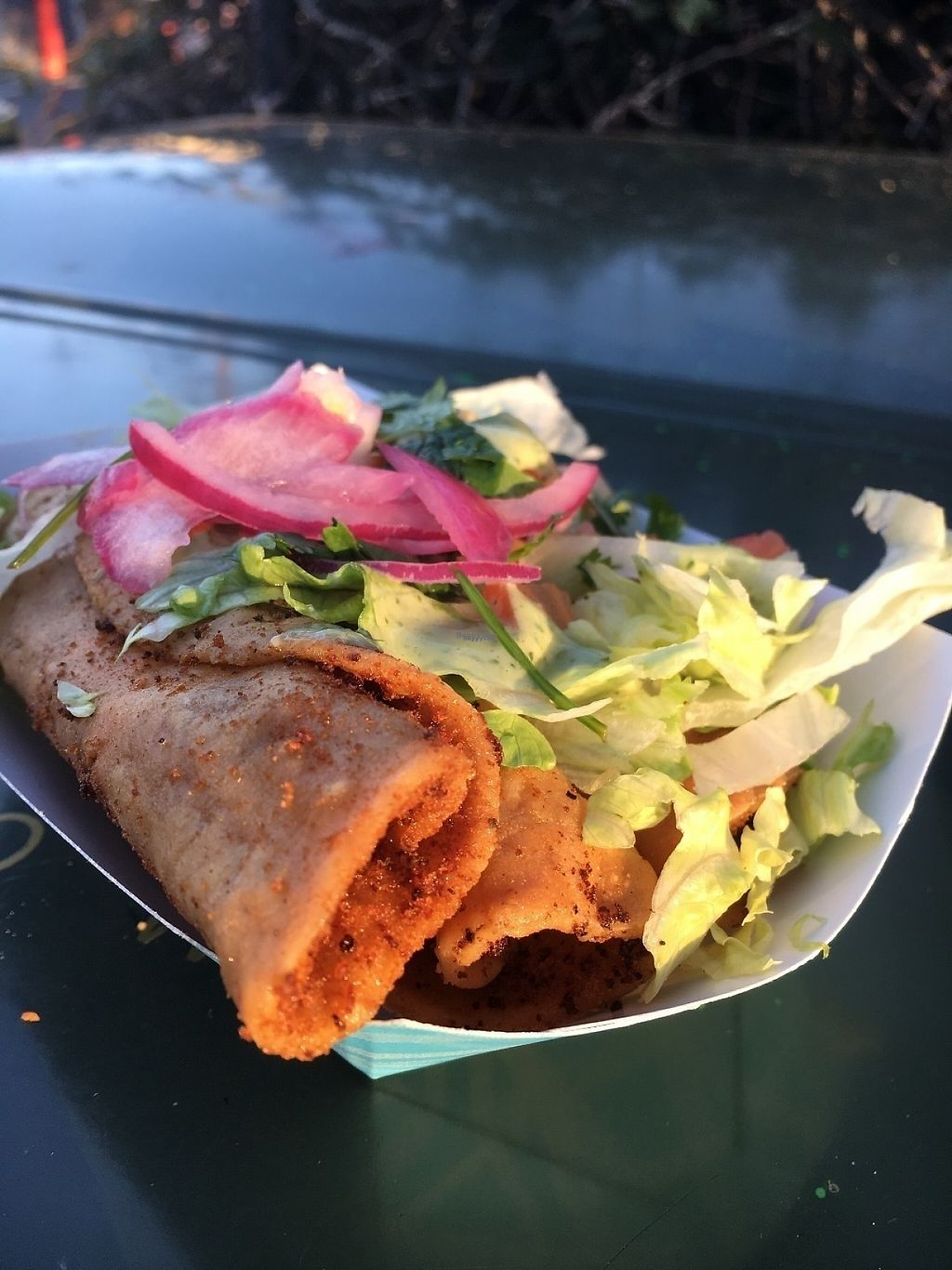 "Photo of El Veganito - Food Stall  by <a href=""/members/profile/oceansidevegan"">oceansidevegan</a> <br/>Potato Tacos <br/> March 10, 2017  - <a href='/contact/abuse/image/78906/234913'>Report</a>"