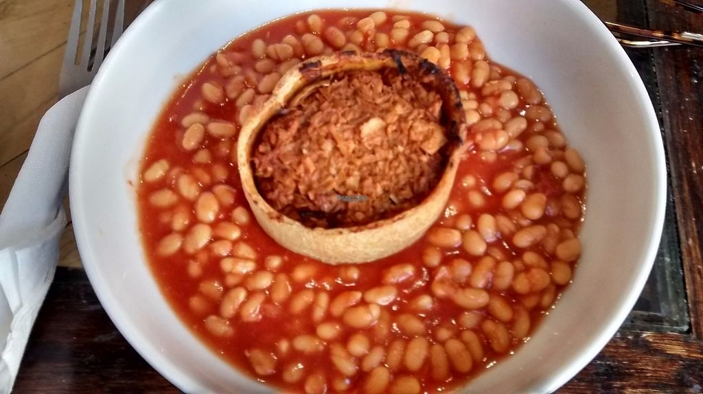 """Photo of Rose & Grant's Deli Cafe  by <a href=""""/members/profile/TrixieFirecracker"""">TrixieFirecracker</a> <br/>Jackfruit pie (from Cool Jerk Vegan) with baked beans <br/> April 15, 2017  - <a href='/contact/abuse/image/78929/248451'>Report</a>"""