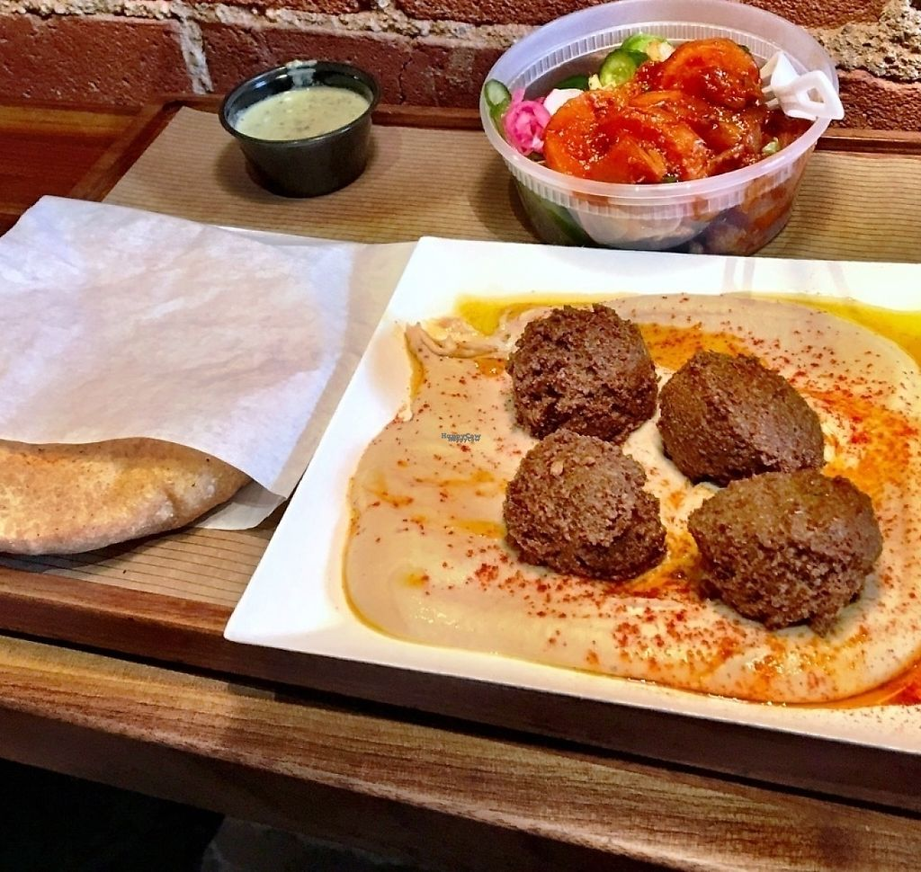"""Photo of Brassica  by <a href=""""/members/profile/Amy00Good"""">Amy00Good</a> <br/>Hummus plate is served with warm pita. We added falafels and a side of veggies. Pro tip: we got the veggies """"on the house"""" because it was our first time trying Brassica.  <br/> October 22, 2016  - <a href='/contact/abuse/image/78946/198966'>Report</a>"""