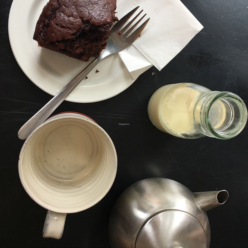 """Photo of The Old Electric Shop  by <a href=""""/members/profile/Spaghetti_monster"""">Spaghetti_monster</a> <br/>vegan banana brownie with loose leaf earl grey and soy milk <br/> July 27, 2017  - <a href='/contact/abuse/image/78953/285695'>Report</a>"""