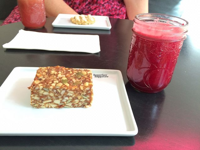 """Photo of Verde Juice Bar  by <a href=""""/members/profile/PrairieEarth1"""">PrairieEarth1</a> <br/>The Basic (beet, carrot, ginger) with nut bar <br/> September 10, 2016  - <a href='/contact/abuse/image/78978/174891'>Report</a>"""