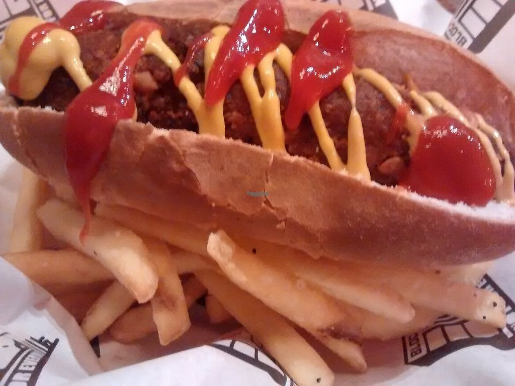 """Photo of Bloc Bar Glasgow  by <a href=""""/members/profile/TrixieFirecracker"""">TrixieFirecracker</a> <br/>Falafel dog and chips <br/> November 18, 2016  - <a href='/contact/abuse/image/78988/191859'>Report</a>"""