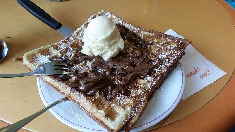 """Photo of Brustolon Cafe Gelateria  by <a href=""""/members/profile/LucaaXela"""">LucaaXela</a> <br/>Vegan Nutella waffle <br/> October 22, 2016  - <a href='/contact/abuse/image/79029/183663'>Report</a>"""