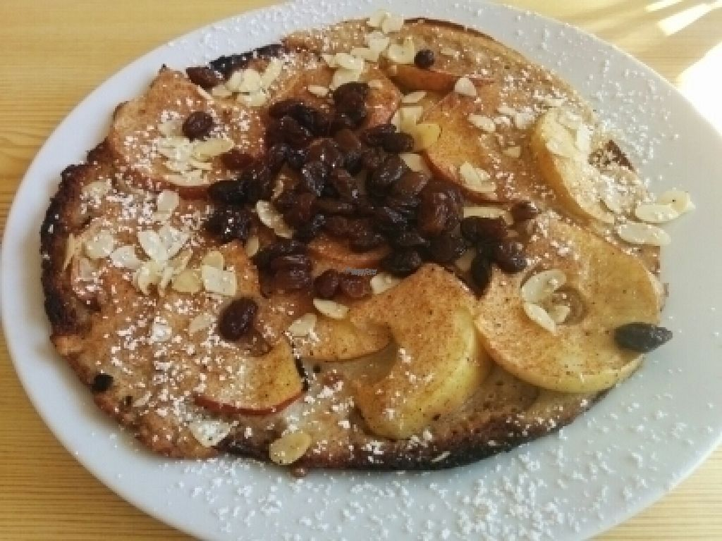 """Photo of Pfannkuchen Haus  by <a href=""""/members/profile/anni"""">anni</a> <br/>""""Der Klassiker"""": delicious vegan pancake, not too sweet, with apple slices, almonds, raisins and Calvados, flambéed <br/> August 24, 2016  - <a href='/contact/abuse/image/79036/171181'>Report</a>"""