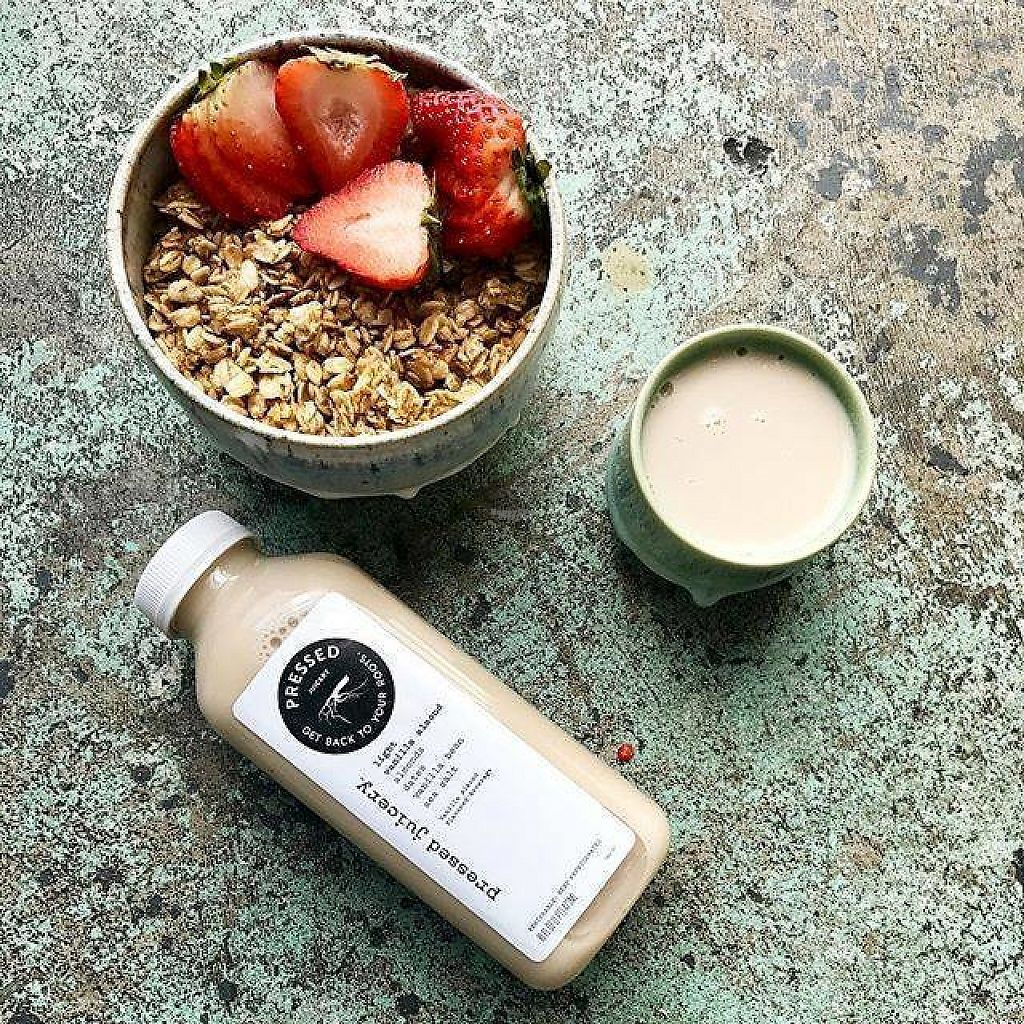 """Photo of Pressed Juicery - Paseo Nuevo  by <a href=""""/members/profile/community"""">community</a> <br/>granola almond milk  <br/> January 27, 2017  - <a href='/contact/abuse/image/79075/217742'>Report</a>"""